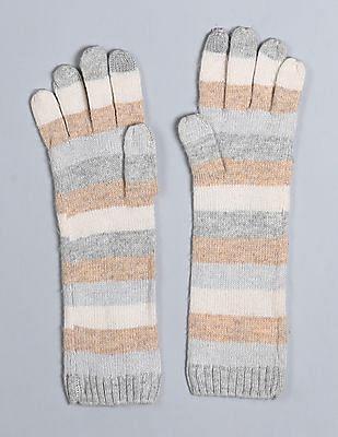 GAP Women Multi Colour Crazy Stripe Merino Wool Blend Mittens