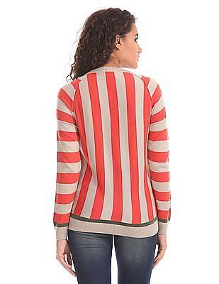 Flying Machine Women Full Sleeve Patterned Striped Sweater