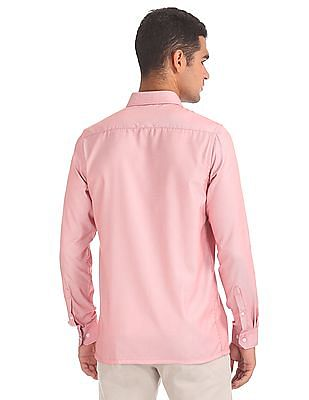 Excalibur Patterned Weave Cotton Blend Shirt