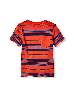 The Children's Place Boys Orange Short Sleeve Striped Pocket Tee