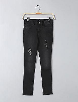 GAP Girls Super Skinny Fit Sequin Embellished Jeans
