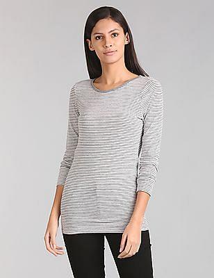 GAP Women Grey Long Sleeve Stripe Tunic Tee