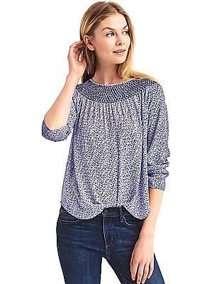 GAP Women Blue Smock Neck Long Sleeve blouse