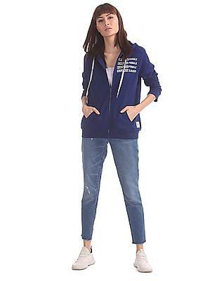 Flying Machine Women Blue Drawstring Hood Zip-Up Sweatshirt