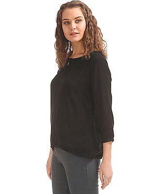 Cherokee Keyhole Neck Crinkled Top