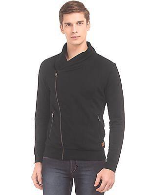 Flying Machine Shawl Collar Zip Up Sweatshirt