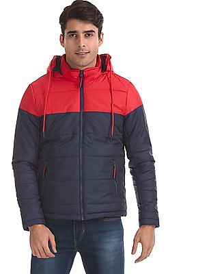 Flying Machine Red And Blue Detachable Hood Puffer Jacket