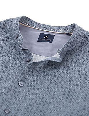 True Blue Mandarin Collar Printed Shirt