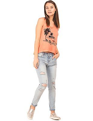 Flying Machine Women Printed Front Flared Tank Top
