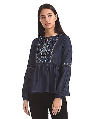 Aeropostale Long Sleeve Embroidered Top