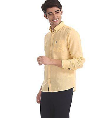 U.S. Polo Assn. Yellow Tailored Regular Fit Button Down Shirt