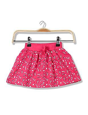 Donuts Girls Printed Layered Skirt