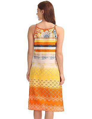 Bronz Combination Print Slip Dress