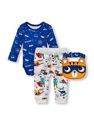The Children's Place Baby Boys Superhero Bodysuit, Pants And Bib 3-Piece Playwear Set