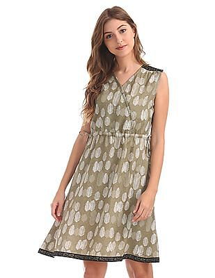 Bronz Printed V-Neck Fit And Flare Dress