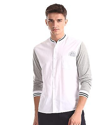 Colt White And Grey Knit Sleeve Solid Shirt