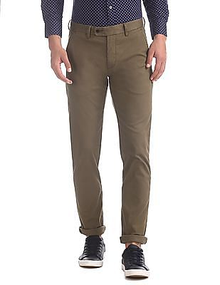 Arrow Sports Brown Chrysler Slim Fit Solid Trousers
