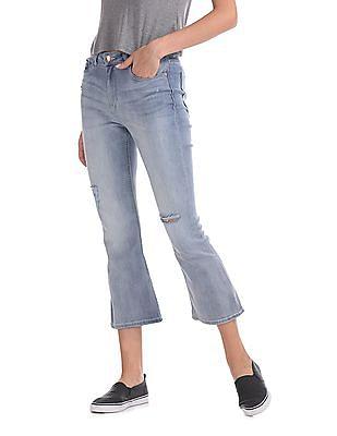 Flying Machine Women Kick Flare Distressed Jeans