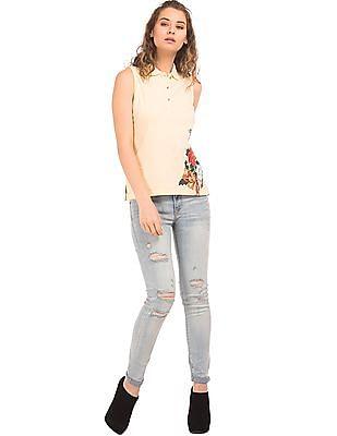 EdHardy Women Printed Side Sleeveless Polo Shirt