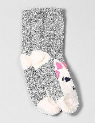 GAP Girls Grey Cozy Unicorn Socks