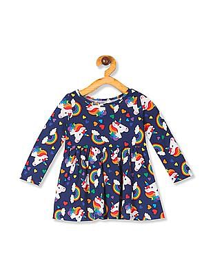 The Children's Place Toddler Girl Blue Long Sleeve Rainbow Unicorn Print Knit Dress