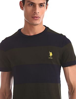 U.S. Polo Assn. Green And Navy Crew Neck Striped T-Shirt