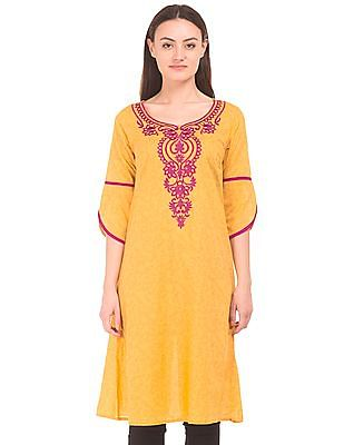 Karigari Embroidered Front A-Line Kurta