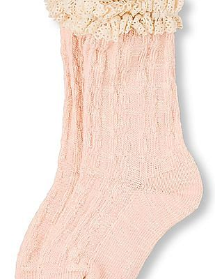 The Children's Place Girls Lace Marled Knit Crew Socks