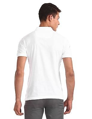 Arrow Newyork White Printed Front Jersey Polo Shirt