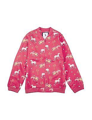 U.S. Polo Assn. Kids Girls Printed Viscose Sweatshirt