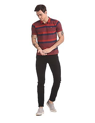Ruggers Red And Navy Tipped Striped Polo Shirt