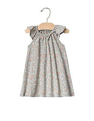 GAP Baby Grey Floral Bow Flutter Dress