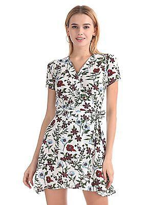 Aeropostale Floral Print Wrap Dress