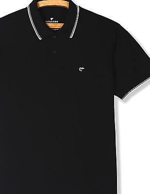 Ruggers Black Tipped Cotton Pique Polo Shirt