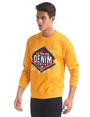 U.S. Polo Assn. Yellow Crew Neck Printed Sweatshirt