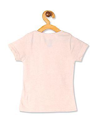 Cherokee Beige Girls Ribbed Neck Graphic T-Shirt