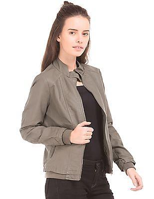 U.S. Polo Assn. Women Panelled Regular Fit Biker Jacket