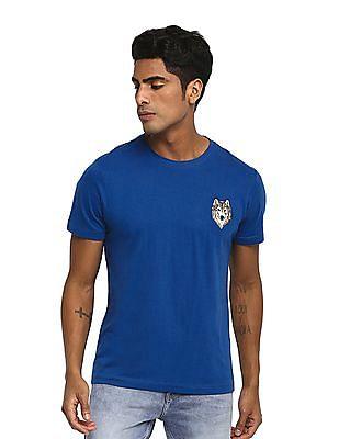 Ruf & Tuf Blue Slim Fit Solid T-Shirt