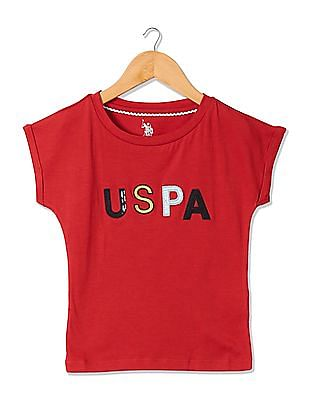 U.S. Polo Assn. Kids Girls Appliqued Short Sleeve T-Shirt