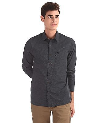 Arrow Sports Blue Mitered Cuff Printed Shirt