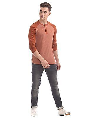 Cherokee Long Raglan Sleeve Henley T-Shirt