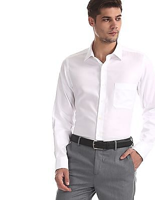 Arrow White French Placket Tonal Pattern Shirt