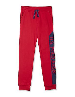 U.S. Polo Assn. Kids Red Boys Mid Rise Knit Track Pants