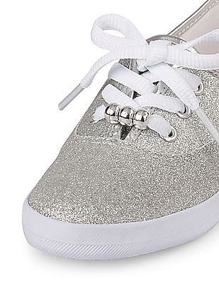 The Children's Place Girls Silver Sparkle Twill Sneaker