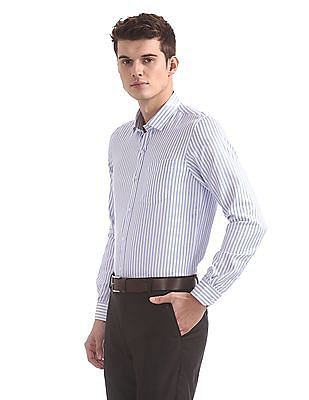 Excalibur Semi-cutaway Collar Striped Shirt