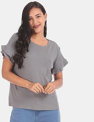 Elle Studio Women Grey Ruffle Sleeve Textured Top