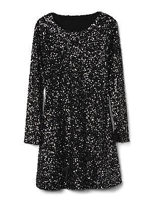 GAP Women Black Long Sleeve Sequin Swing Dress