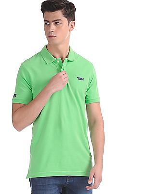 Flying Machine Green Solid Pique Polo Shirt