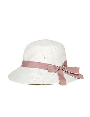 Day 2 Day White Girls Bow Accent Bucket Hat