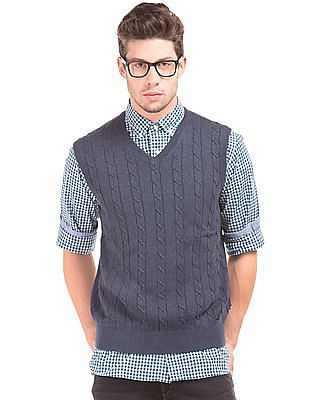 Nautica Cable Knit V-Neck Sweater
